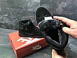 Мужские зимние кросовки Nike Jordan черные замшевые на меху, фото 3