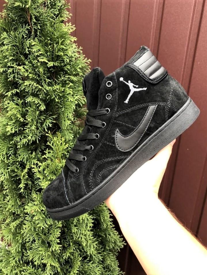 Мужские зимние кросовки Nike Jordan черные замшевые на меху