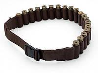 Открытый кожаный патронташ на пояс, на 20 патронов 12-16 калибра , цвет Коричневый (10302/2)