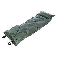 Коврик-матрас каремат туристический самонадувающийся с подушкой RECORD Зеленый (TY-0559)