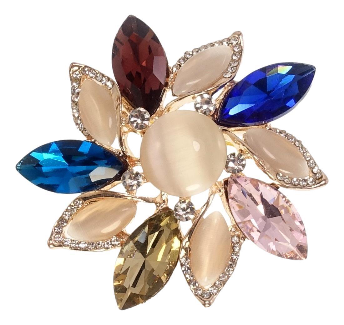 """Брошь """"Изящный цветок с цветными кристаллами"""""""