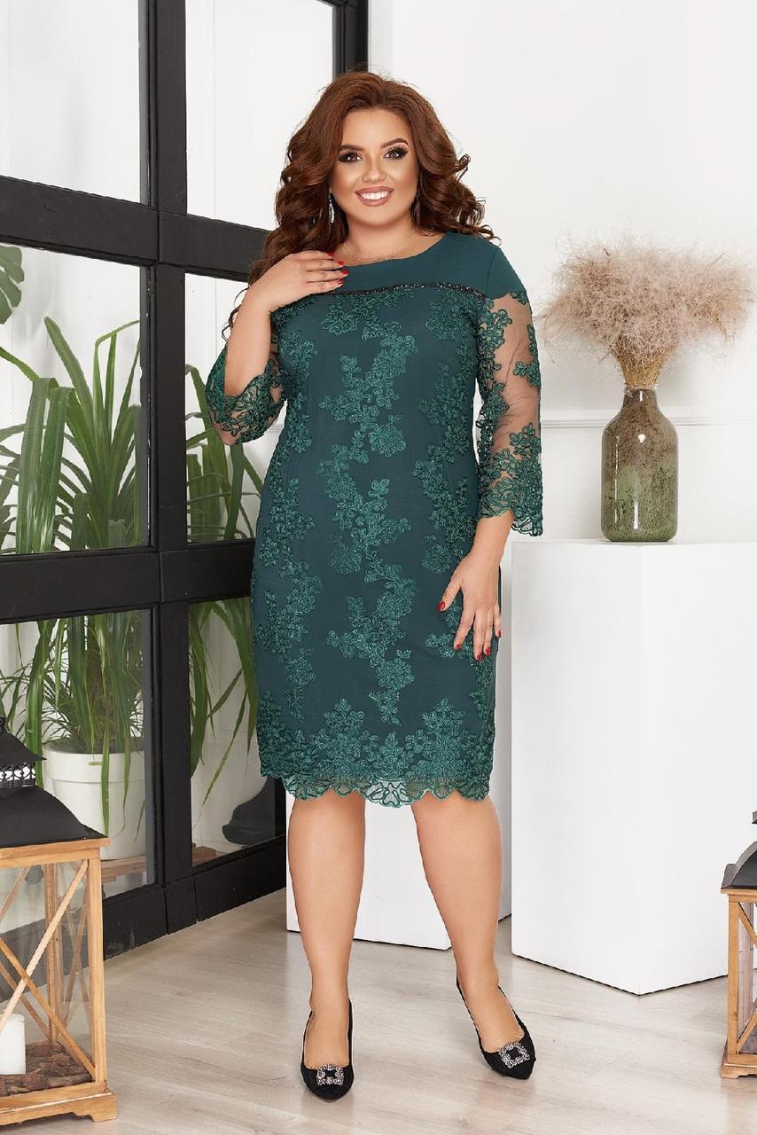 Женское красивое гипюровое нарядное приталенное платье больших размеров  р.50-56