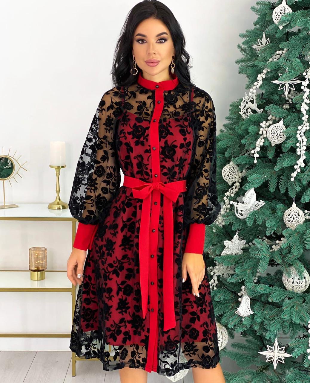 Червоне ошатне плаття з сіткою