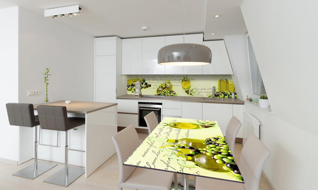 Наклейка 3Д виниловая на стол Zatarga «Оливки Оливковое масло Греция» 650х1200 мм для домов, квартир, столов,