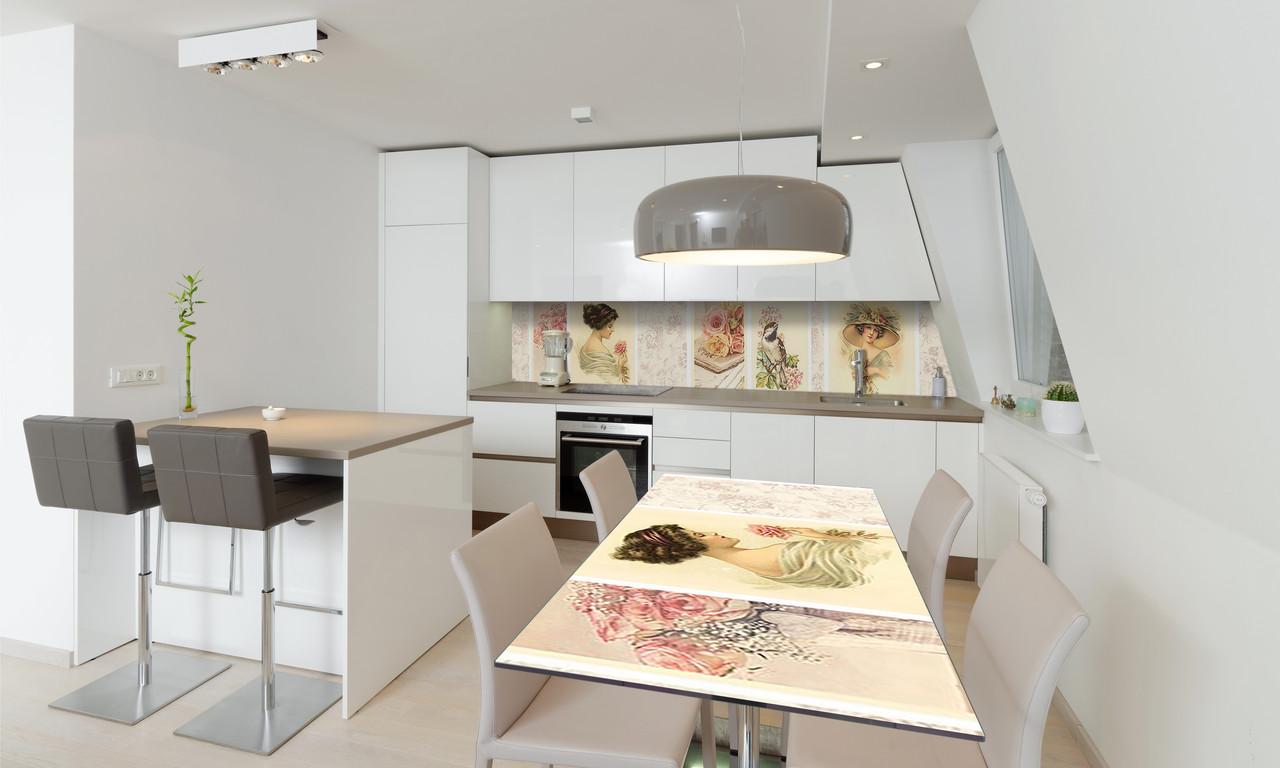 Наклейка 3Д виниловая на стол Zatarga «Винтажные Картины» 600х1200 мм для домов, квартир, столов,