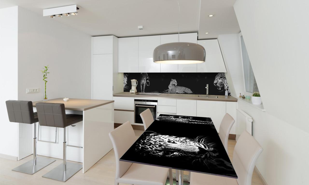Наліпка 3Д вінілова на стіл Zatarga «Гепарди» 650х1200 мм для будинків, квартир, столів, кофеєнь, кафе