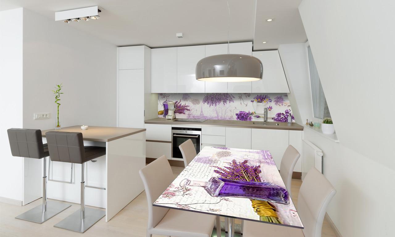 Наклейка 3Д виниловая на стол Zatarga «Лаванда и Сирень» 600х1200 мм для домов, квартир, столов,