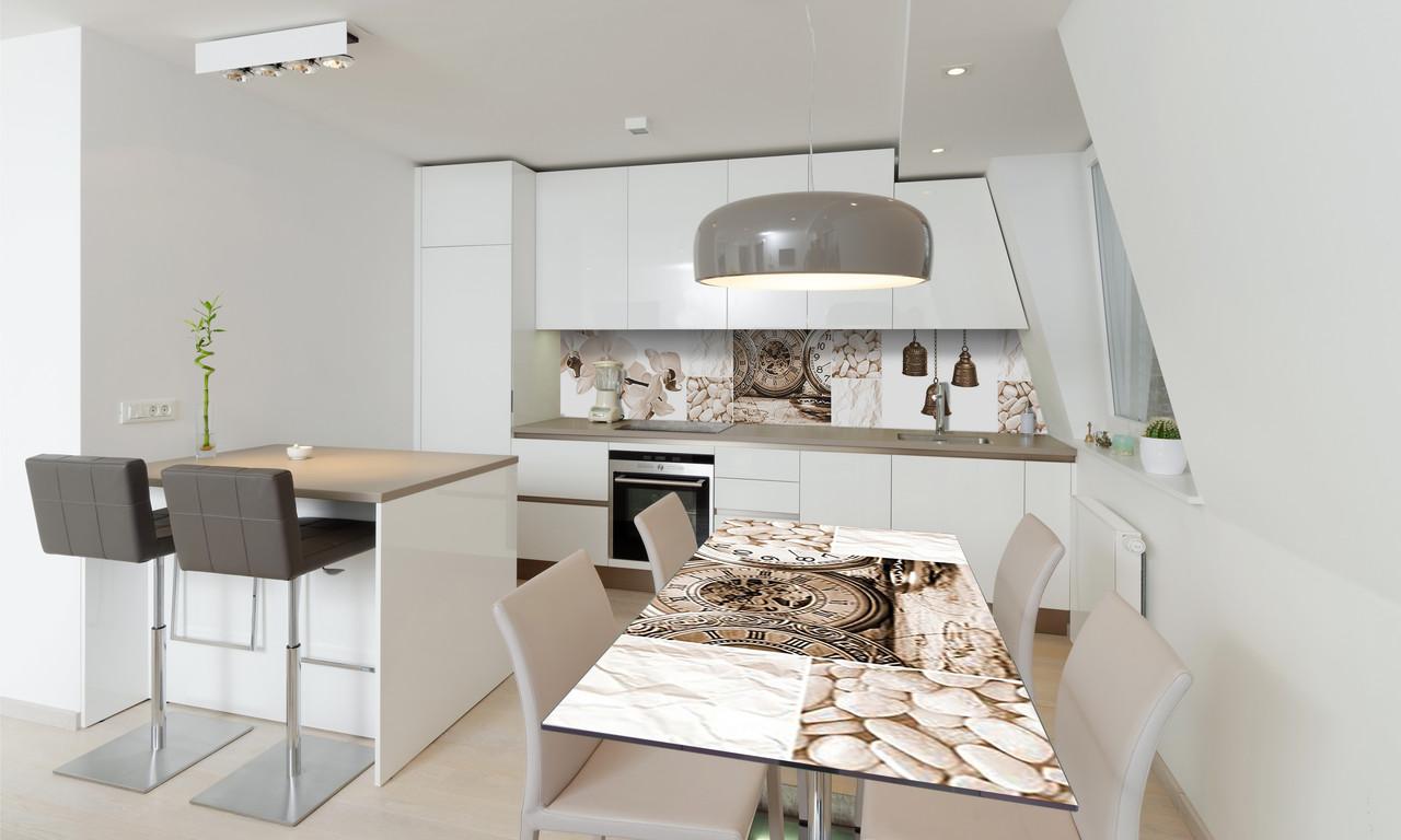 Наклейка 3Д виниловая на стол Zatarga «Часы Сепия» 650х1200 мм для домов, квартир, столов, кофейн, кафе