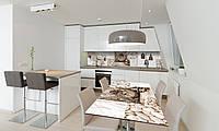 Наклейка 3Д виниловая на стол Zatarga «Часы Сепия» 650х1200 мм для домов, квартир, столов, кофейн, кафе, фото 1