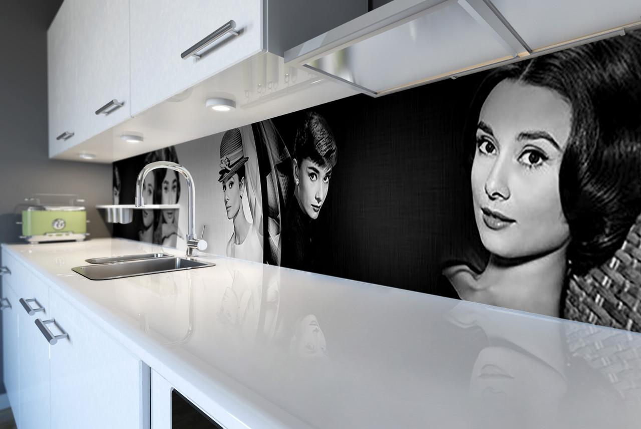 Скинали на кухню Zatarga «Одри Хепберн» 650х2500 мм виниловая 3Д наклейка кухонный фартук самоклеящаяся