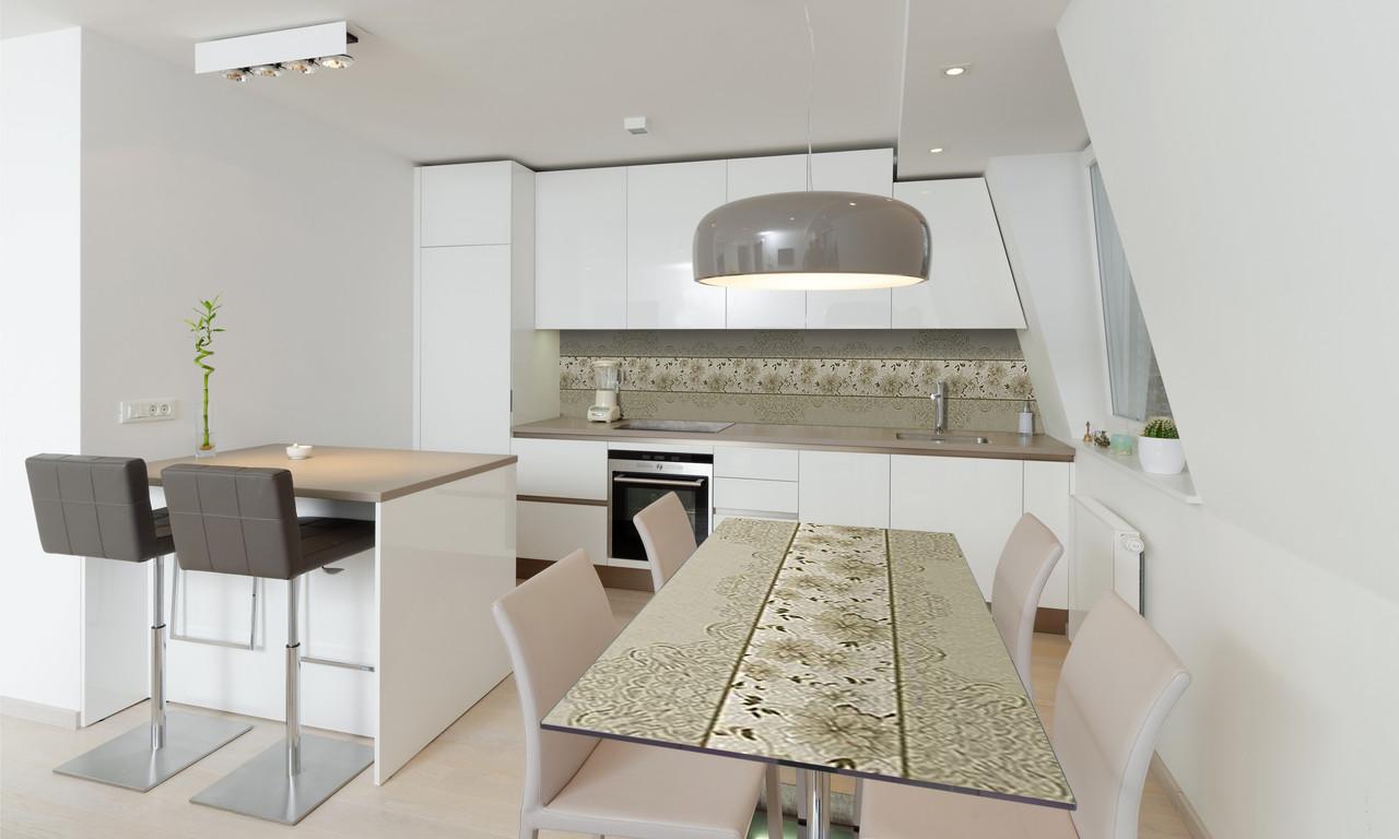 Наклейка 3Д виниловая на стол Zatarga «Винтажные Хризантемы» 650х1200 мм для домов, квартир, столов,
