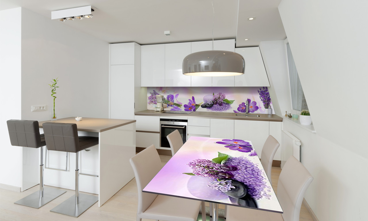 Наклейка 3Д виниловая на стол Zatarga «Фиолетовые цветы» 650х1200 мм для домов, квартир, столов,