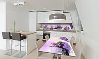 Наклейка 3Д виниловая на стол Zatarga «Фиолетовые цветы» 650х1200 мм для домов, квартир, столов, , фото 1