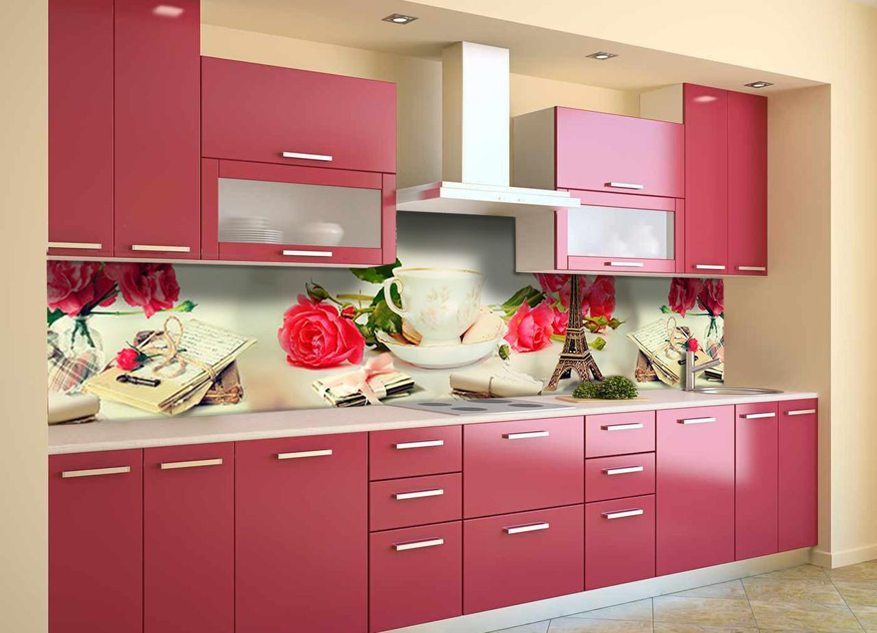 Скинали на кухню Zatarga «Париж и Розы» 600х3000 мм виниловая 3Д наклейка кухонный фартук самоклеящаяся