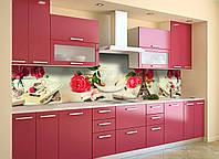 Скинали на кухню Zatarga «Париж и Розы» 600х3000 мм виниловая 3Д наклейка кухонный фартук самоклеящаяся, фото 1