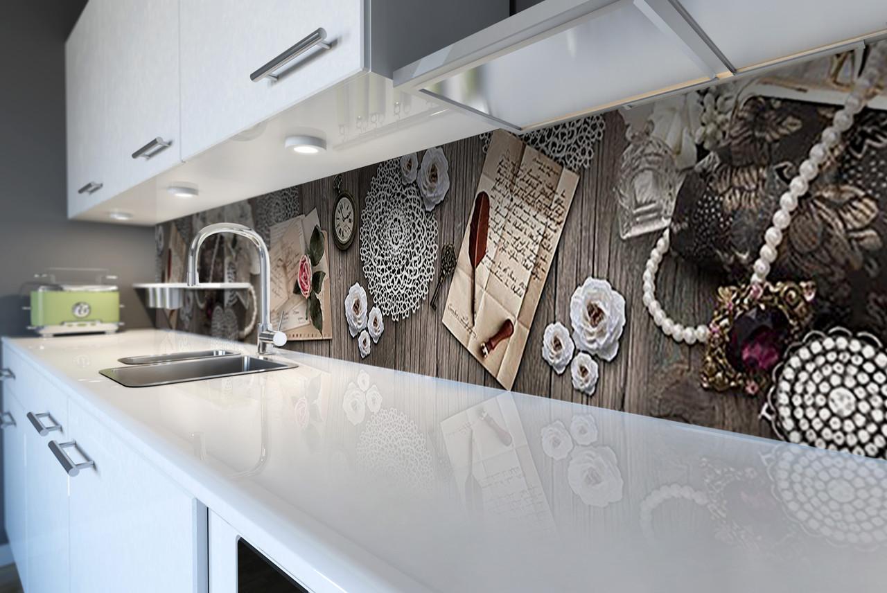 Скинали на кухню Zatarga «Ажурный» 600х2500 мм виниловая 3Д наклейка кухонный фартук самоклеящаяся