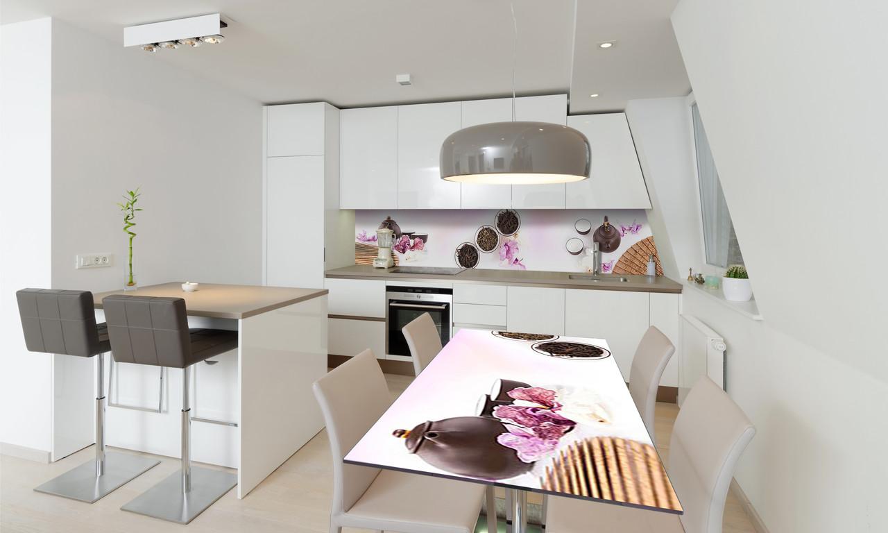 Наклейка 3Д виниловая на стол Zatarga «Чайный набор» 600х1200 мм для домов, квартир, столов, кофейн,