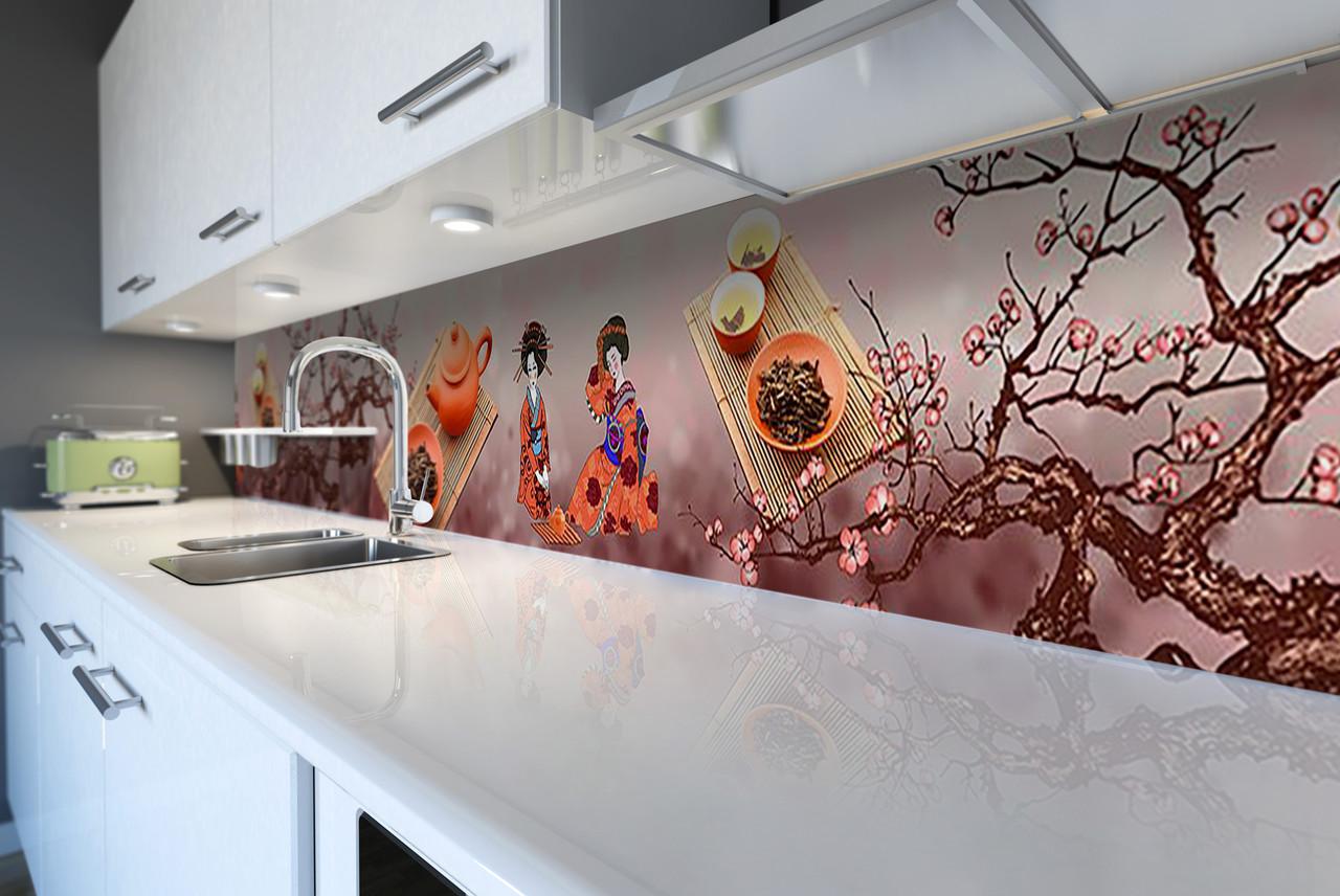 Скинали на кухню Zatarga «Гейши» 650х2500 мм виниловая 3Д наклейка кухонный фартук самоклеящаяся