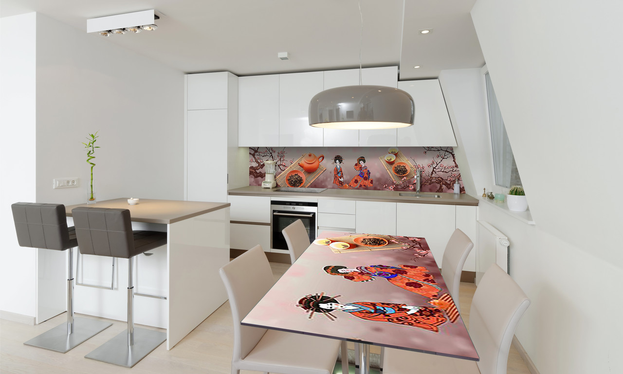 Наклейка 3Д виниловая на стол Zatarga «Гейши» 600х1200 мм для домов, квартир, столов, кофейн, кафе