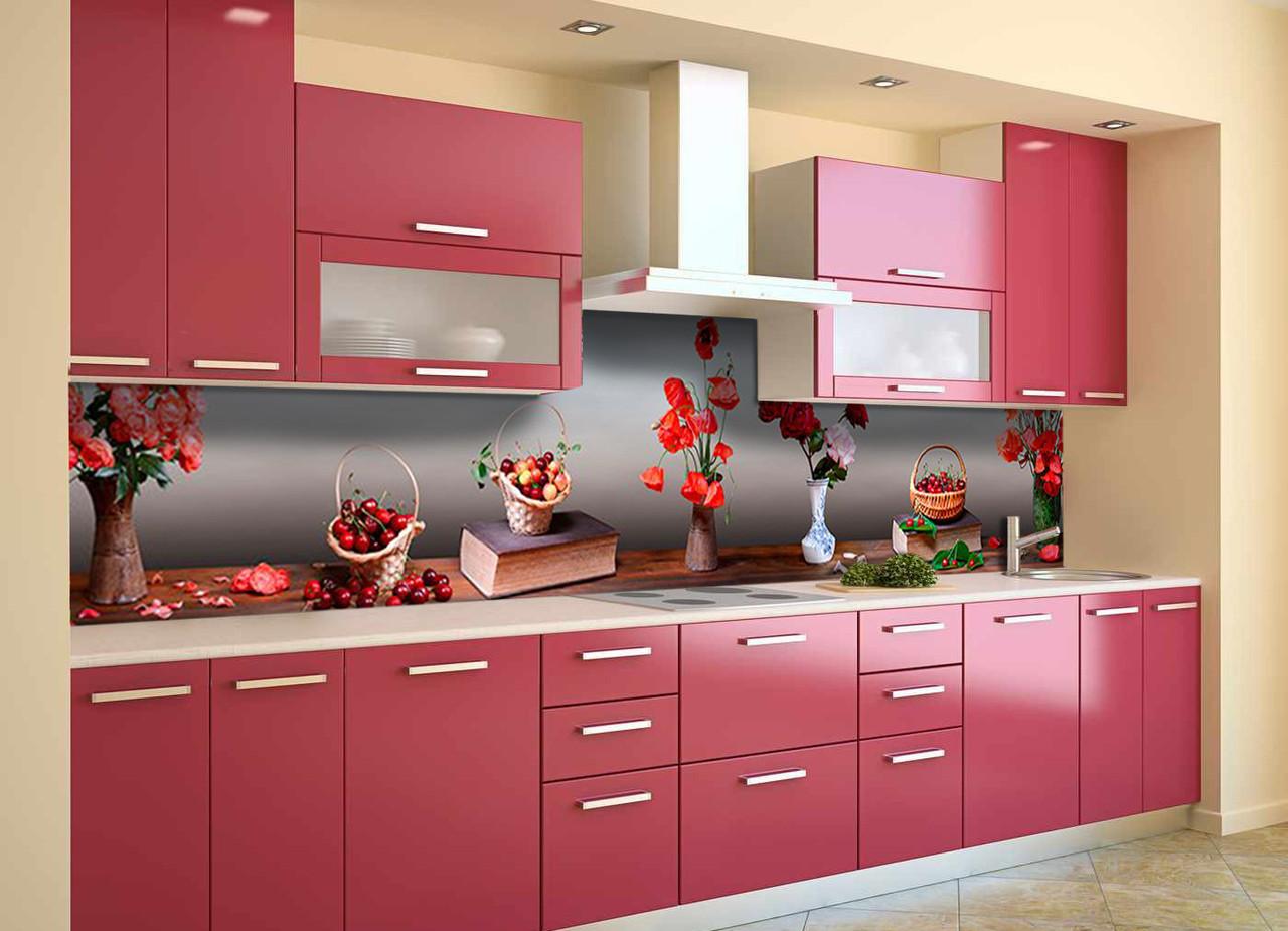 Скинали на кухню Zatarga «Маки и Вишни» 600х2500 мм виниловая 3Д наклейка кухонный фартук самоклеящаяся
