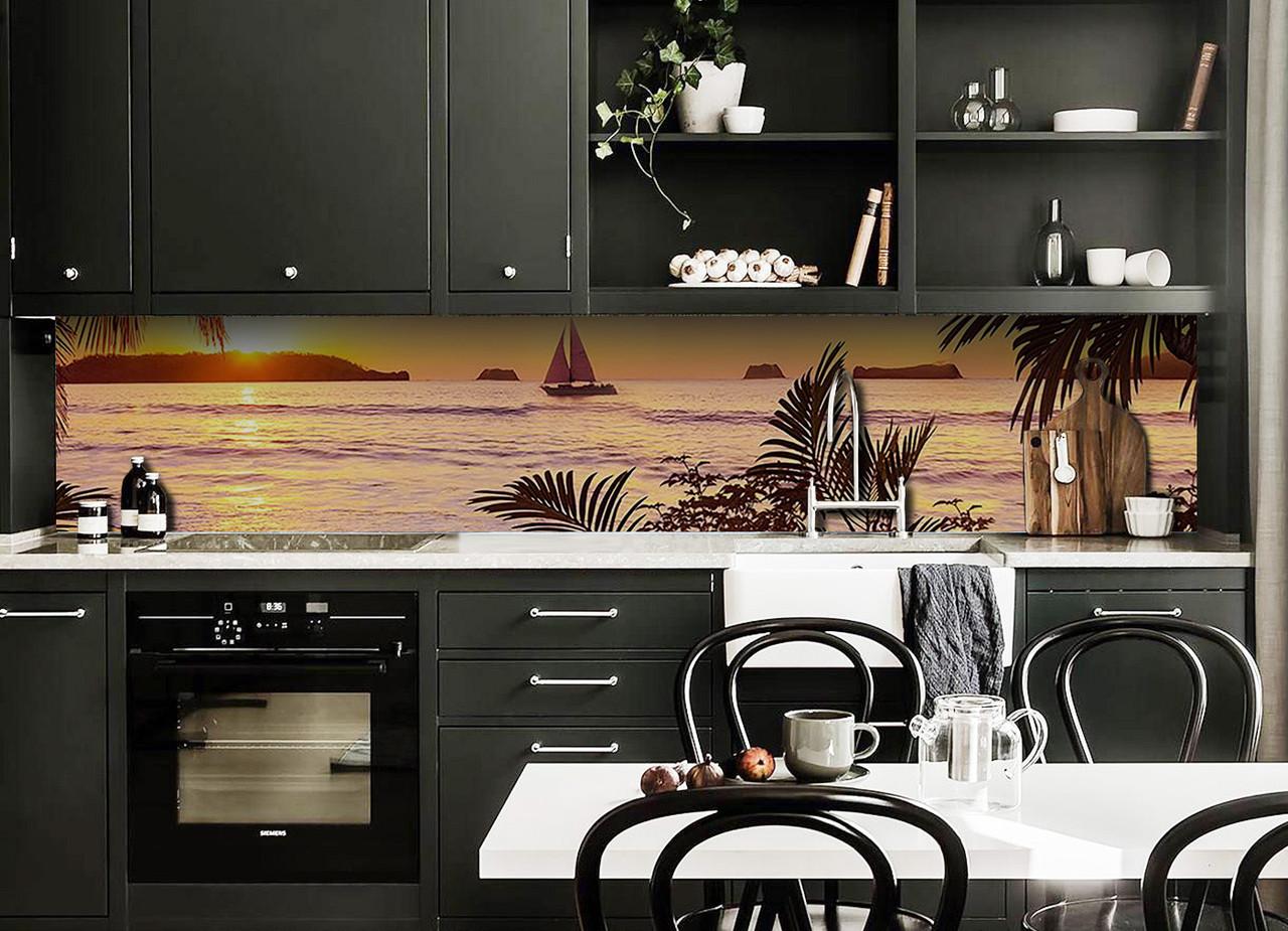 Скинали на кухню Zatarga «Парусник» 650х2500 мм виниловая 3Д наклейка кухонный фартук самоклеящаяся