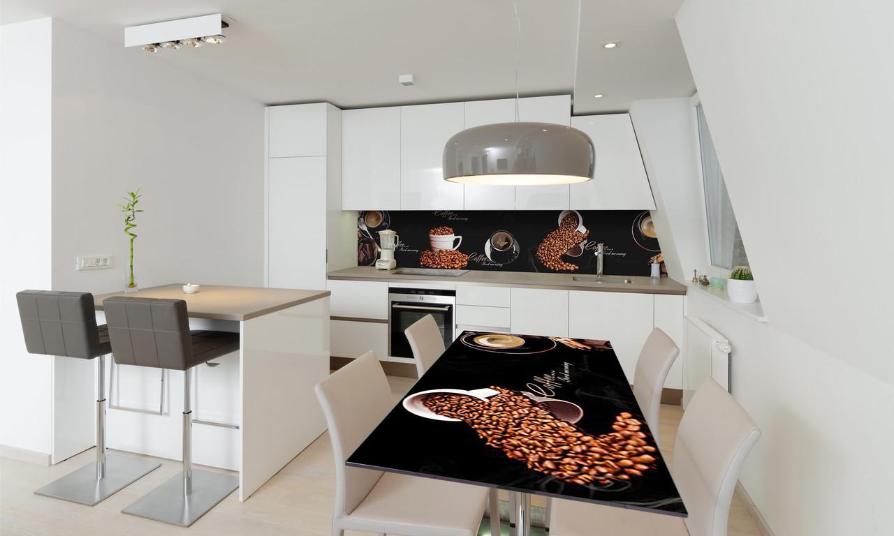 Наклейка 3Д виниловая на стол Zatarga «Черный Кофе» 600х1200 мм для домов, квартир, столов, кофейн,