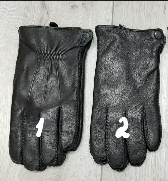 Кожа мужские перчатки, олень, внутри махра, пальцы обстрочены