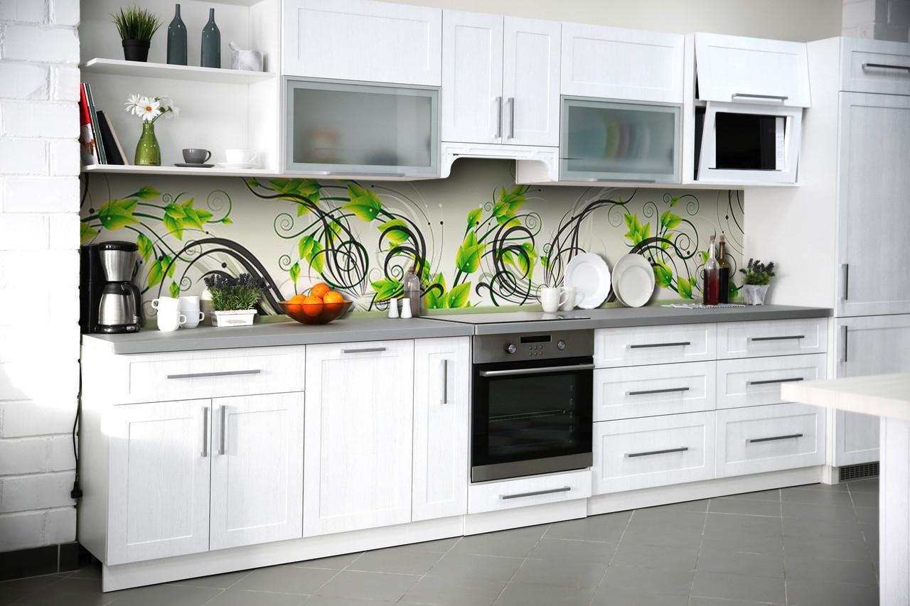Скинали на кухню Zatarga «Зеленые завитки» 600х2500 мм виниловая 3Д наклейка кухонный фартук самоклеящаяся