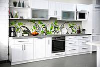 Скинали на кухню Zatarga «Зеленые завитки» 600х2500 мм виниловая 3Д наклейка кухонный фартук самоклеящаяся, фото 1