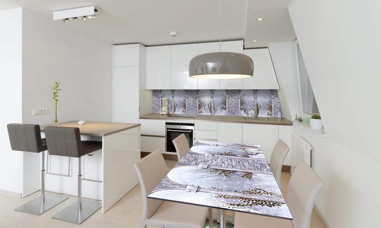 Наклейка 3Д виниловая на стол Zatarga «Зимняя Арка» 600х1200 мм для домов, квартир, столов, кофейн,