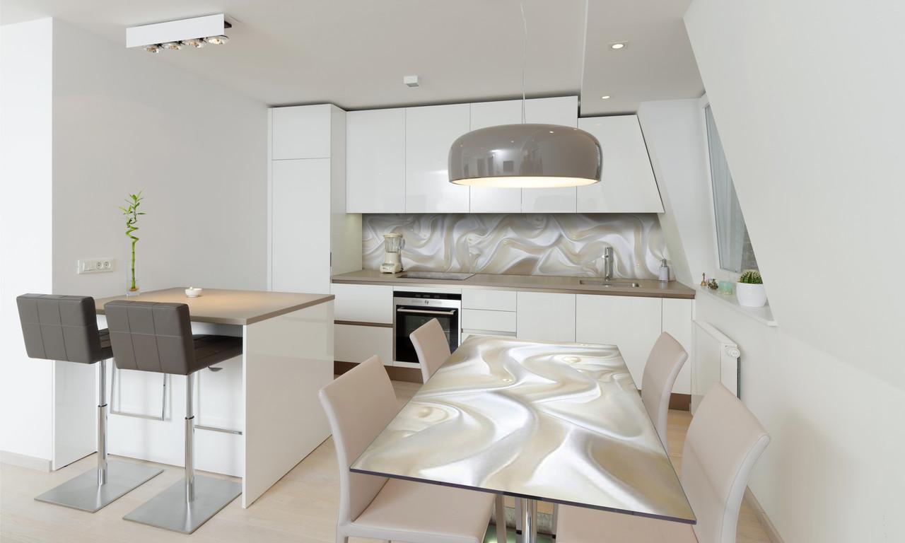 Наклейка 3Д виниловая на стол Zatarga «Белый шелк и Жемчуг» 650х1200 мм для домов, квартир, столов,