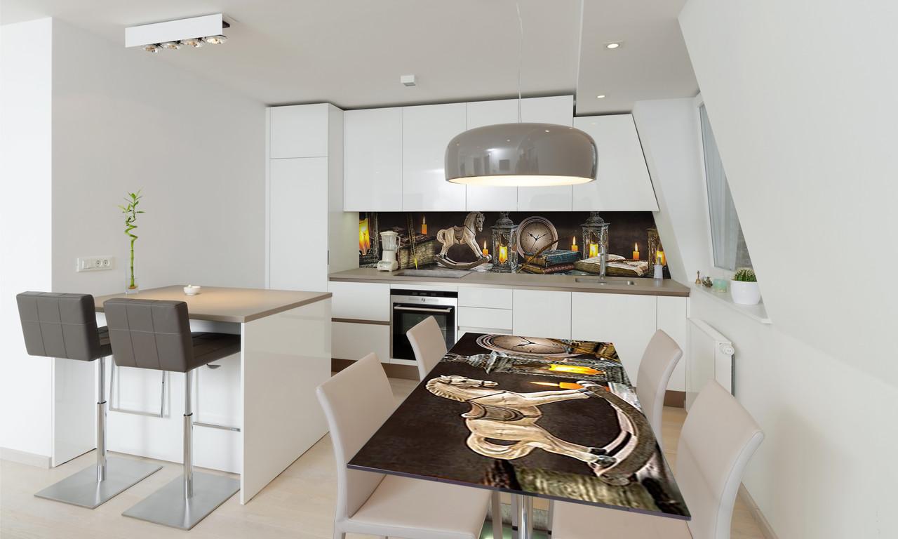 Наклейка 3Д виниловая на стол Zatarga «Винтажные игрушки» 650х1200 мм для домов, квартир, столов,