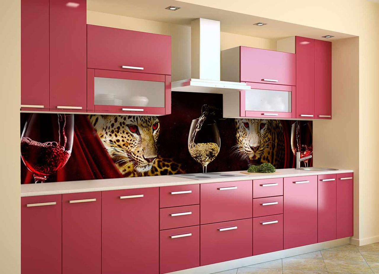 Скинали на кухню Zatarga «Леопарды и Вино» 600х2500 мм виниловая 3Д наклейка кухонный фартук самоклеящаяся