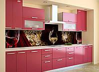 Скинали на кухню Zatarga «Леопарды и Вино» 600х2500 мм виниловая 3Д наклейка кухонный фартук самоклеящаяся, фото 1