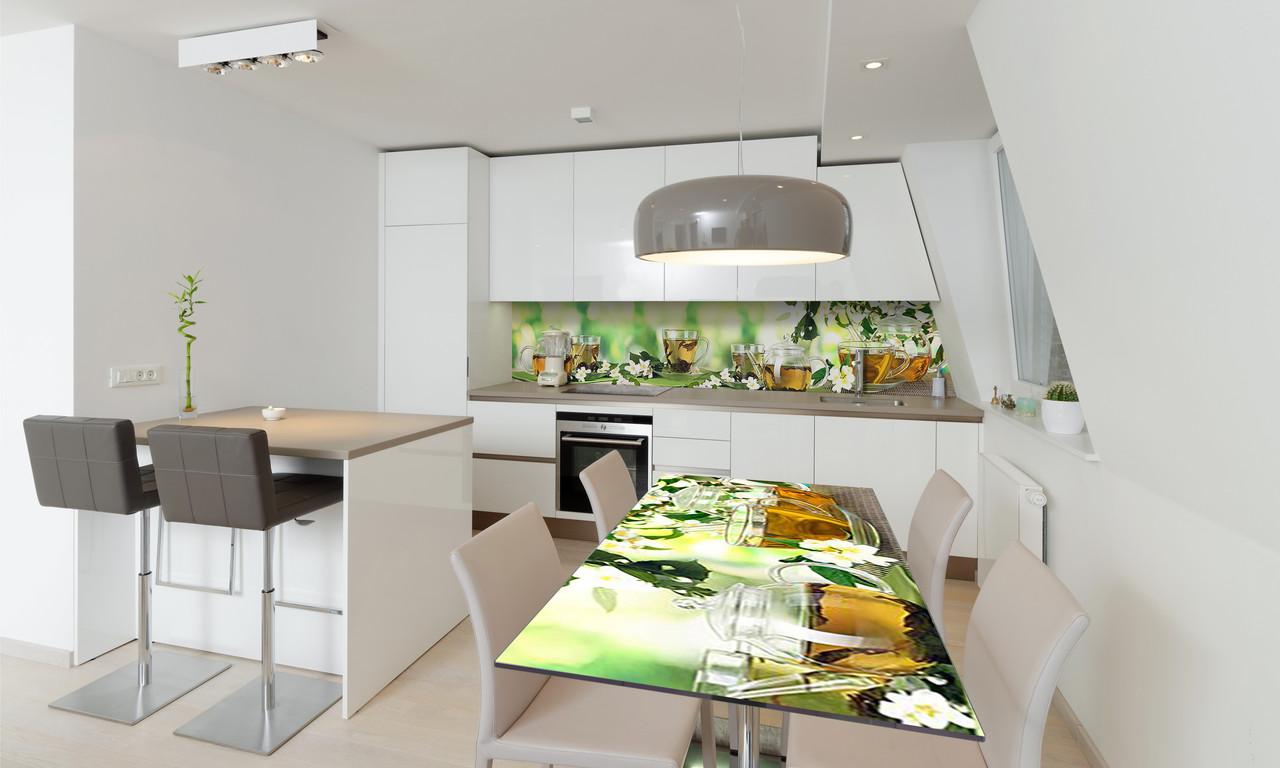 Наклейка 3Д виниловая на стол Zatarga «Жасмин» 600х1200 мм для домов, квартир, столов, кофейн, кафе