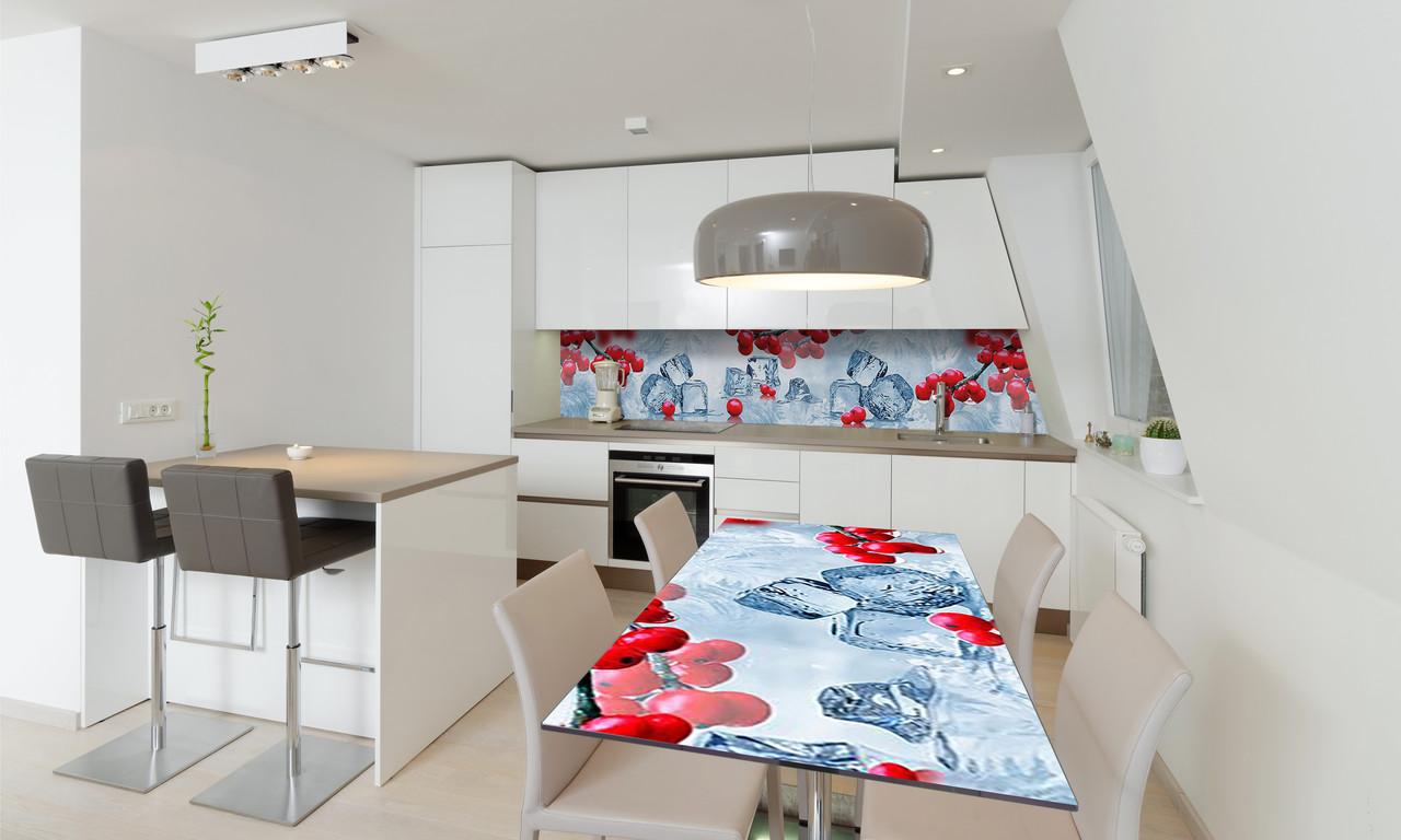 Наклейка 3Д виниловая на стол Zatarga «Зимняя Калина» 650х1200 мм для домов, квартир, столов, кофейн,