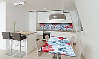 Наклейка 3Д виниловая на стол Zatarga «Зимняя Калина» 650х1200 мм для домов, квартир, столов, кофейн,, фото 1