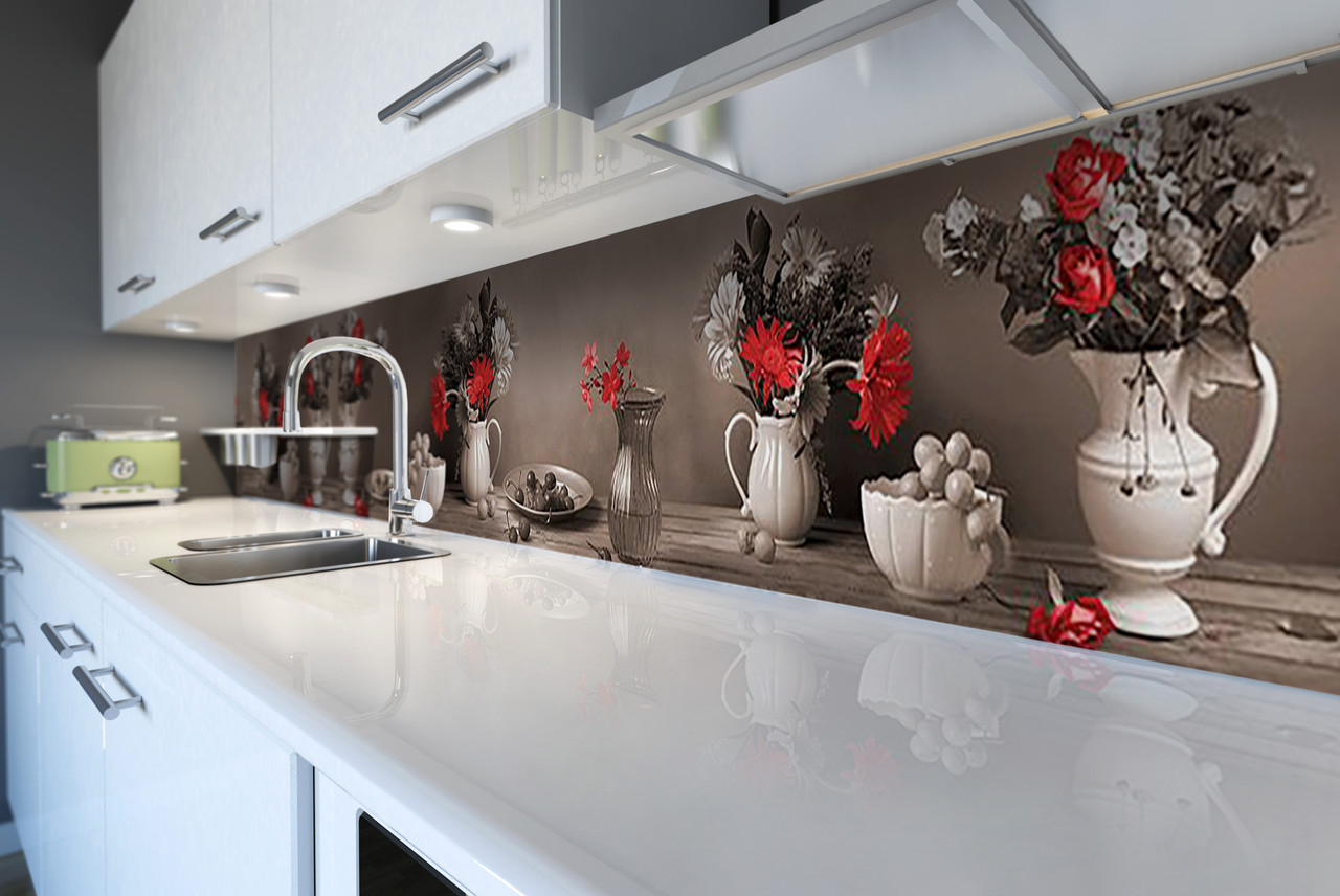 Скинали на кухню Zatarga «Винтажный натюрморт» 650х2500 мм виниловая 3Д наклейка кухонный фартук самоклеящаяся