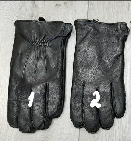 Кожа мужские перчатки олень, внутри махра, пальцы обстрочены, фото 2