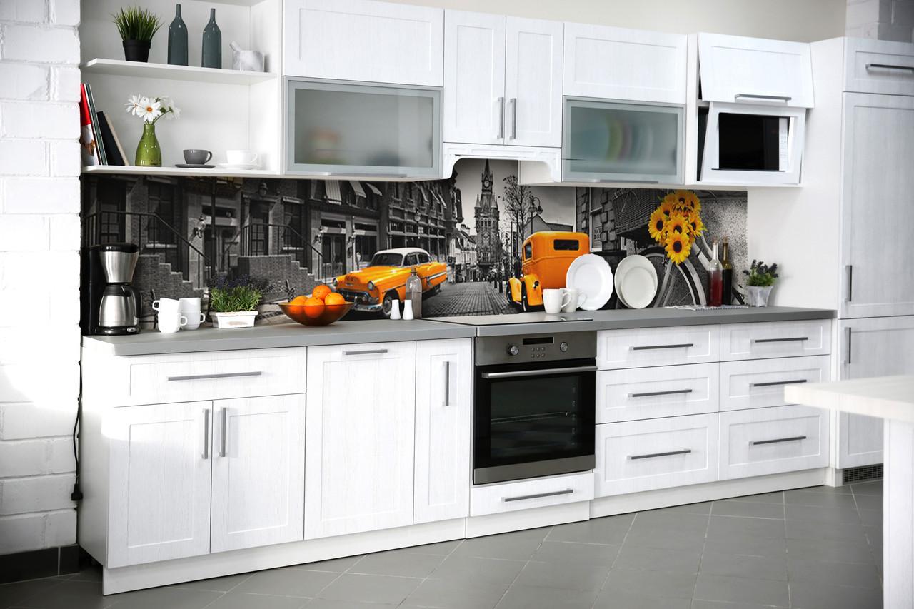 Скинали на кухню Zatarga «Желтый Кэб» 600х3000 мм виниловая 3Д наклейка кухонный фартук самоклеящаяся