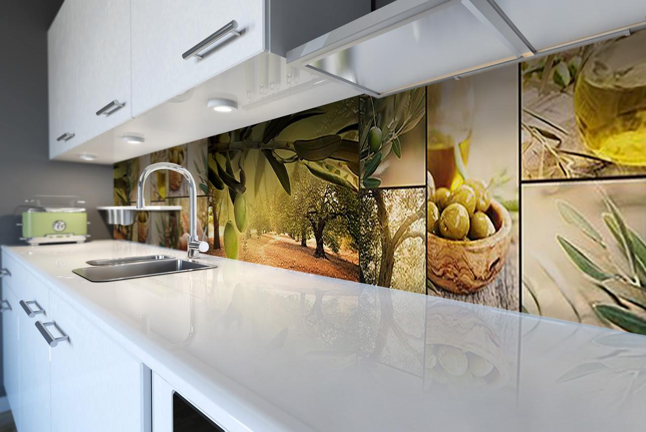 Скинали на кухню Zatarga «Оливковая роща» 650х2500 мм виниловая 3Д наклейка кухонный фартук самоклеящаяся