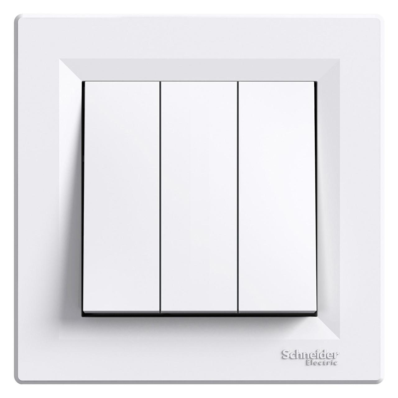 Вимикач 3-х клавішний білий Asfora