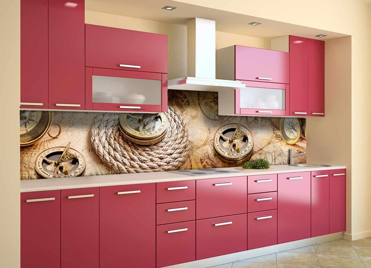 Скинали на кухню Zatarga «Компас» 600х2500 мм виниловая 3Д наклейка кухонный фартук самоклеящаяся