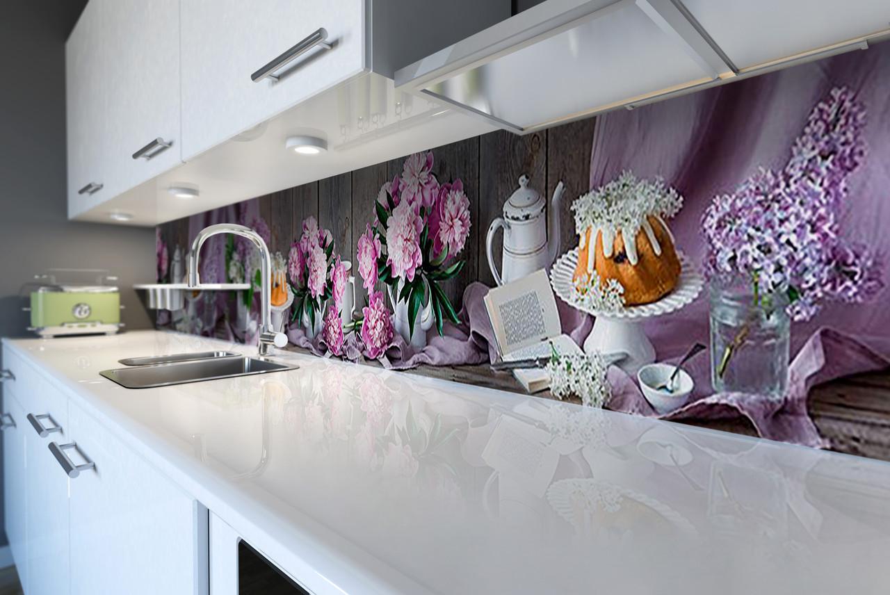 Скинали на кухню Zatarga «Пионы и Сирень» 600х2500 мм виниловая 3Д наклейка кухонный фартук самоклеящаяся