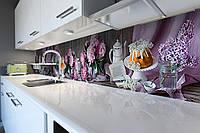 Скинали на кухню Zatarga «Пионы и Сирень» 600х2500 мм виниловая 3Д наклейка кухонный фартук самоклеящаяся, фото 1