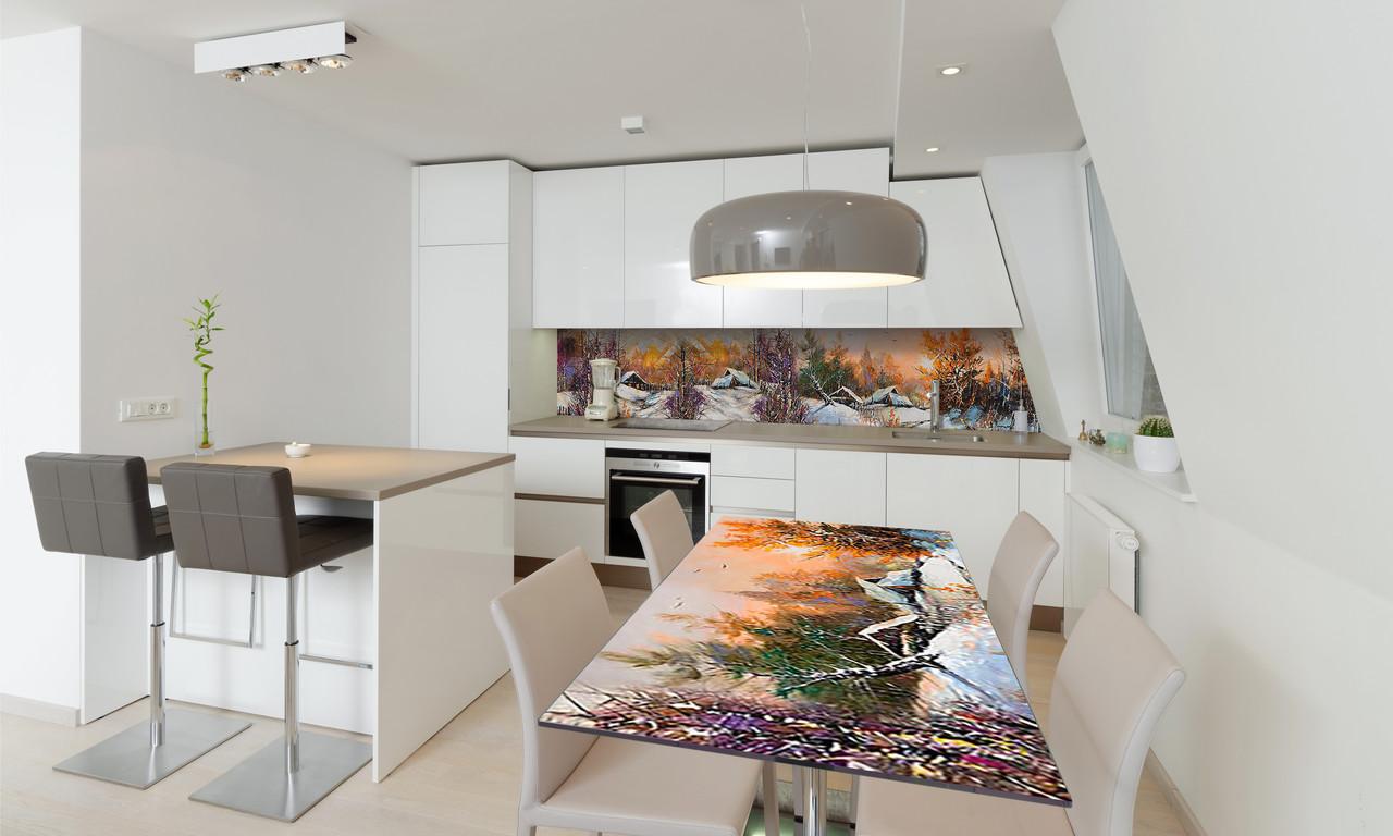Наклейка 3Д виниловая на стол Zatarga «Зима в деревне» 650х1200 мм для домов, квартир, столов, кофейн,