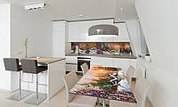 Наклейка 3Д виниловая на стол Zatarga «Зима в деревне» 650х1200 мм для домов, квартир, столов, кофейн,, фото 1