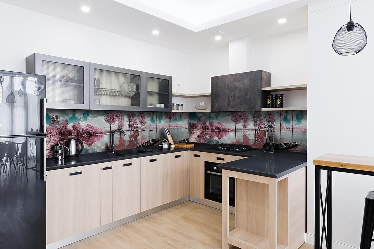 Скинали на кухню Zatarga «Розовые деревья» 650х2500 мм виниловая 3Д наклейка кухонный фартук самоклеящаяся