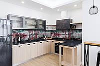 Скинали на кухню Zatarga «Розовые деревья» 650х2500 мм виниловая 3Д наклейка кухонный фартук самоклеящаяся, фото 1