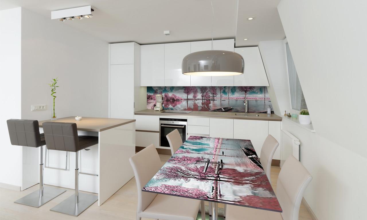 Наклейка 3Д виниловая на стол Zatarga «Розовые деревья» 600х1200 мм для домов, квартир, столов, кофейн,